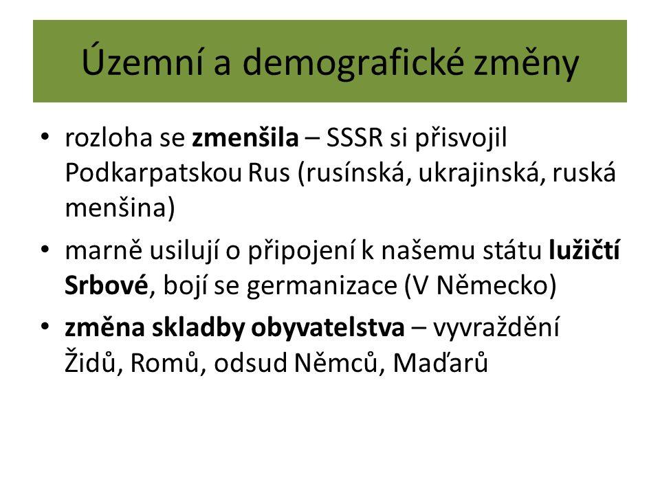 Územní a demografické změny rozloha se zmenšila – SSSR si přisvojil Podkarpatskou Rus (rusínská, ukrajinská, ruská menšina) marně usilují o připojení k našemu státu lužičtí Srbové, bojí se germanizace (V Německo) změna skladby obyvatelstva – vyvraždění Židů, Romů, odsud Němců, Maďarů