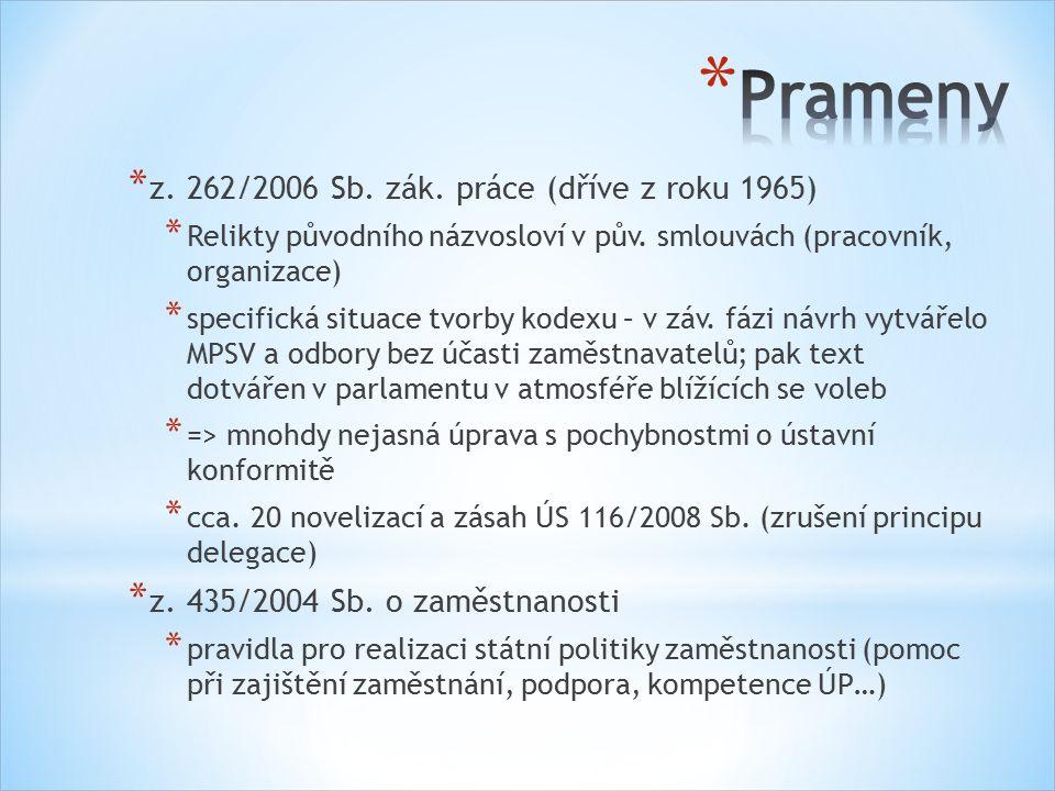 * z. 262/2006 Sb. zák. práce (dříve z roku 1965) * Relikty původního názvosloví v pův.