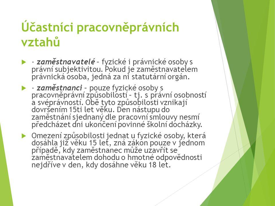 Účastníci pracovněprávních vztahů  - zaměstnavatelé – fyzické i právnické osoby s právní subjektivitou.