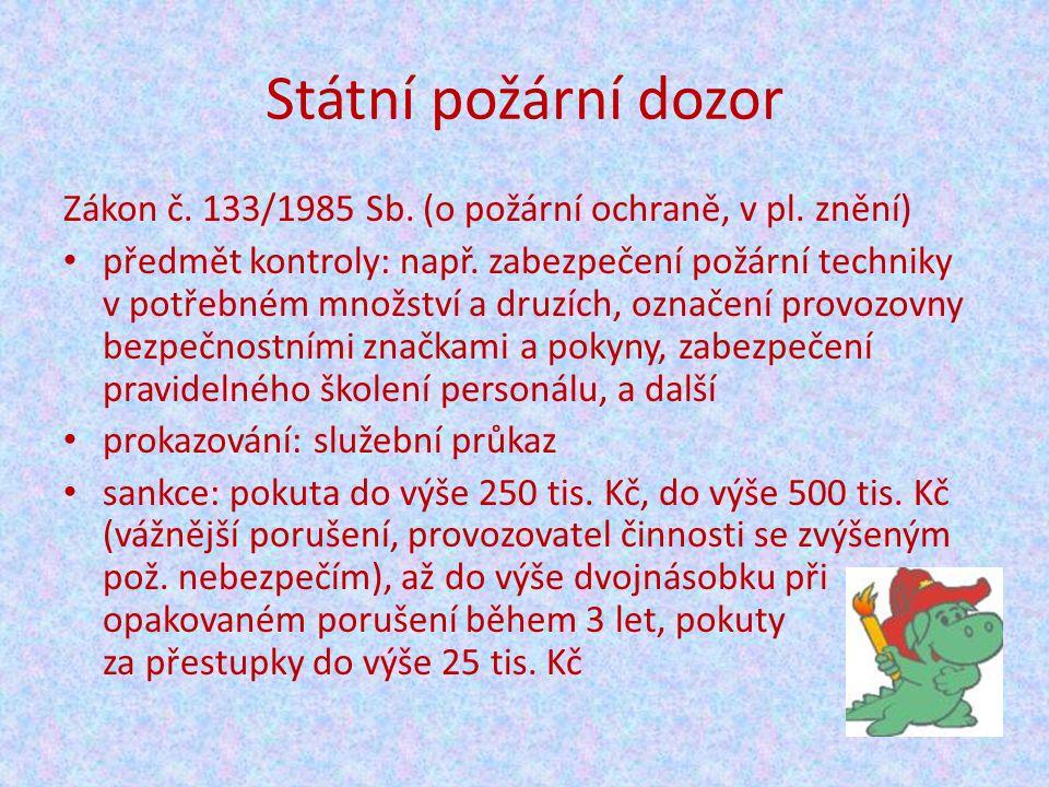 Státní požární dozor Zákon č. 133/1985 Sb. (o požární ochraně, v pl.