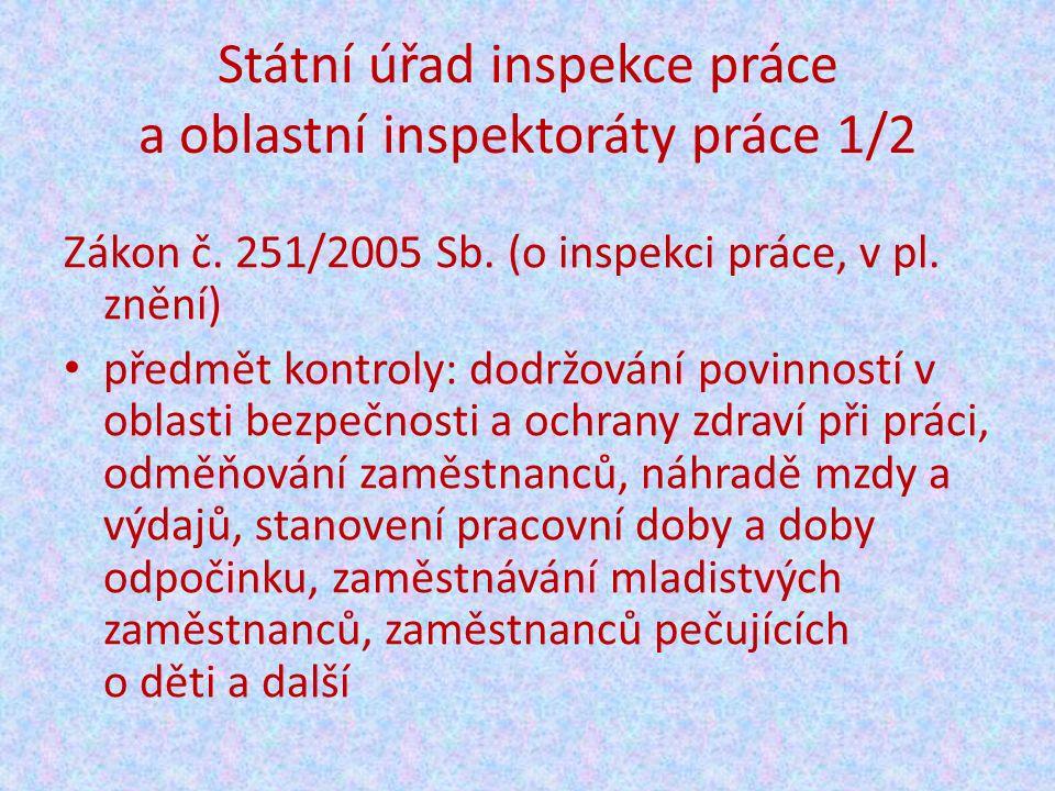 Státní úřad inspekce práce a oblastní inspektoráty práce 1/2 Zákon č.