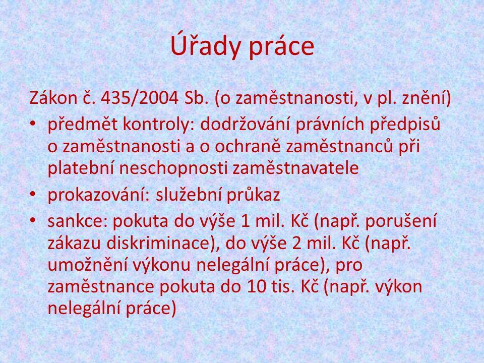 Úřady práce Zákon č. 435/2004 Sb. (o zaměstnanosti, v pl.