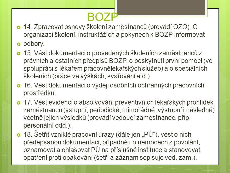 BOZP  14. Zpracovat osnovy školení zaměstnanců (provádí OZO).