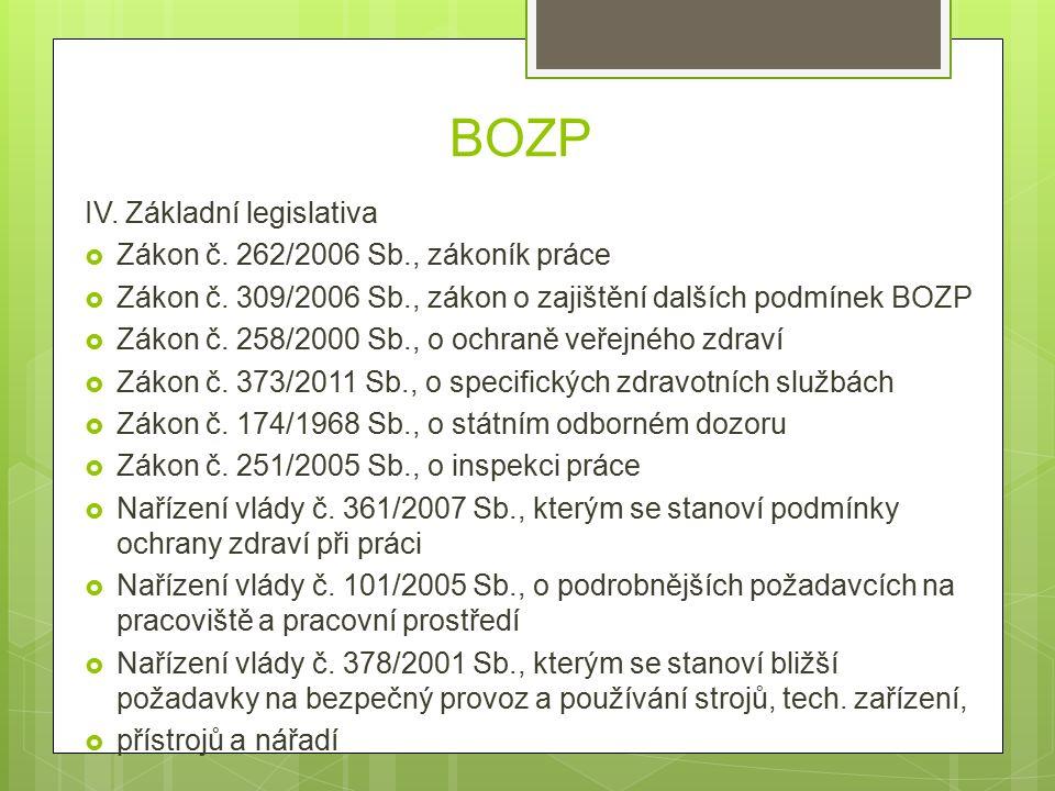 BOZP IV. Základní legislativa  Zákon č. 262/2006 Sb., zákoník práce  Zákon č.