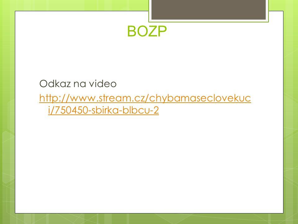 BOZP Odkaz na video http://www.stream.cz/chybamaseclovekuc i/750450-sbirka-blbcu-2