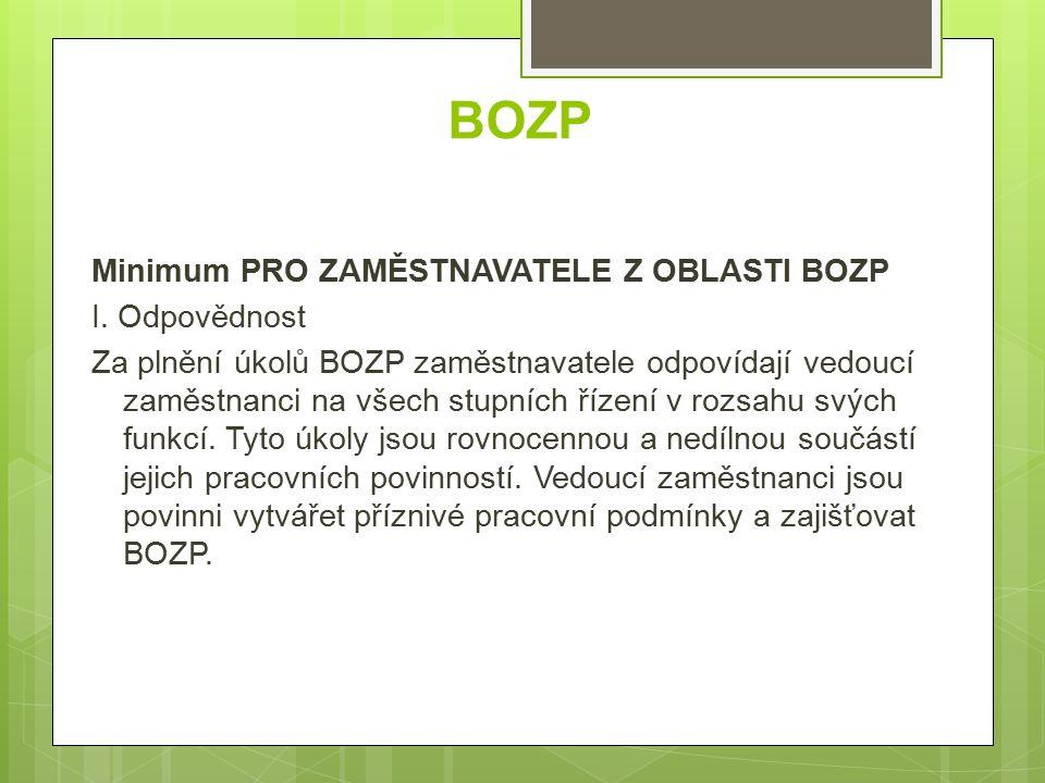 BOZP Minimum PRO ZAMĚSTNAVATELE Z OBLASTI BOZP I.