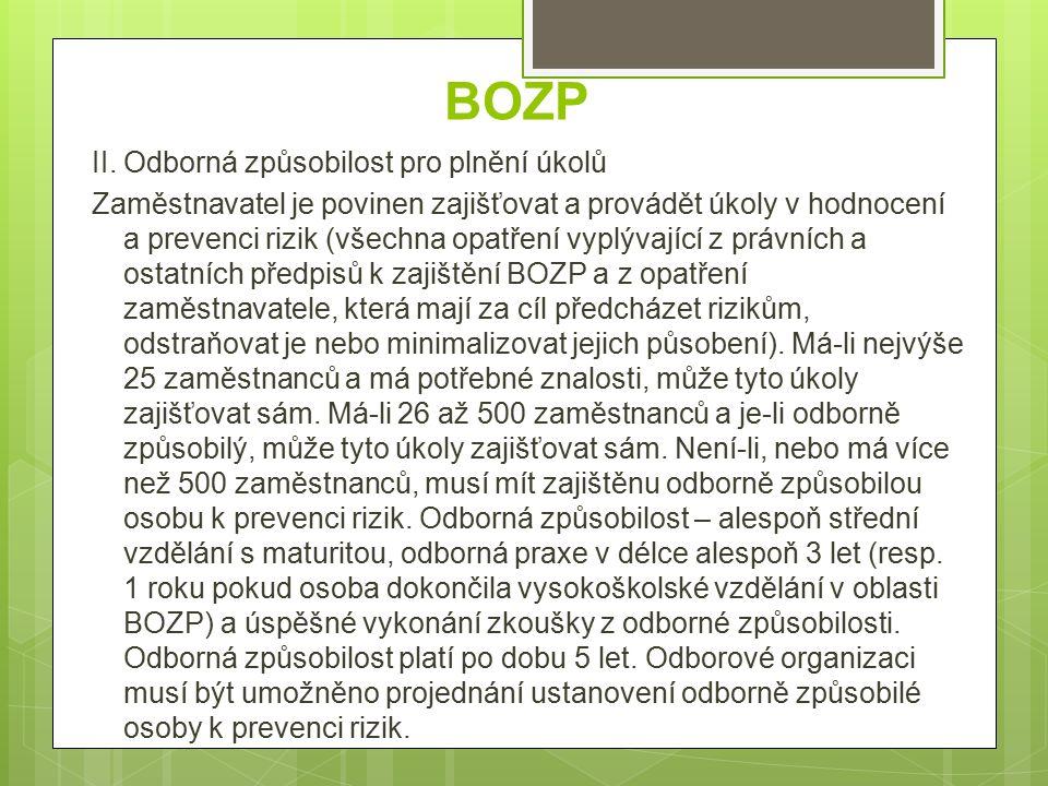 BOZP III.Základní povinnosti  1.