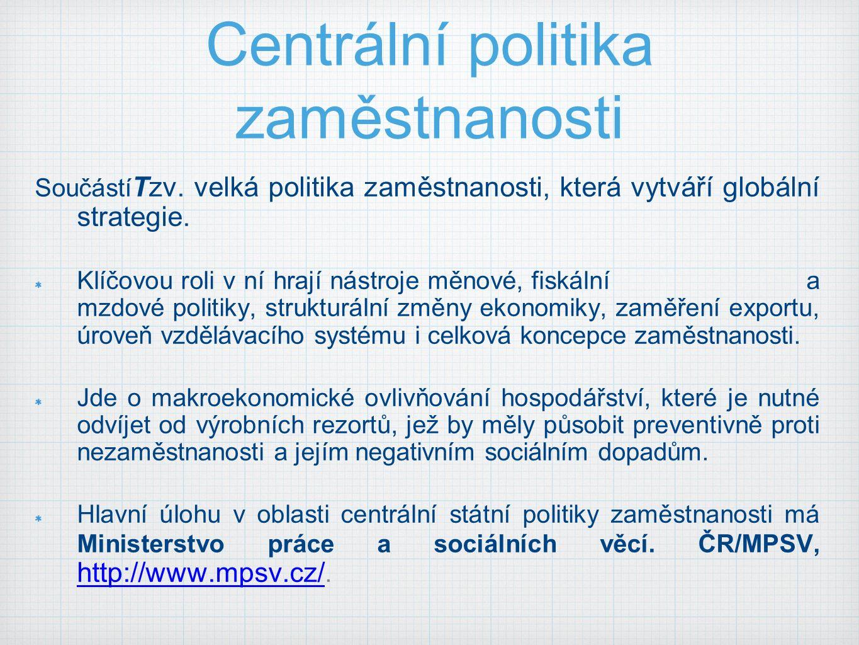 Centrální politika zaměstnanosti Součástí Tzv.