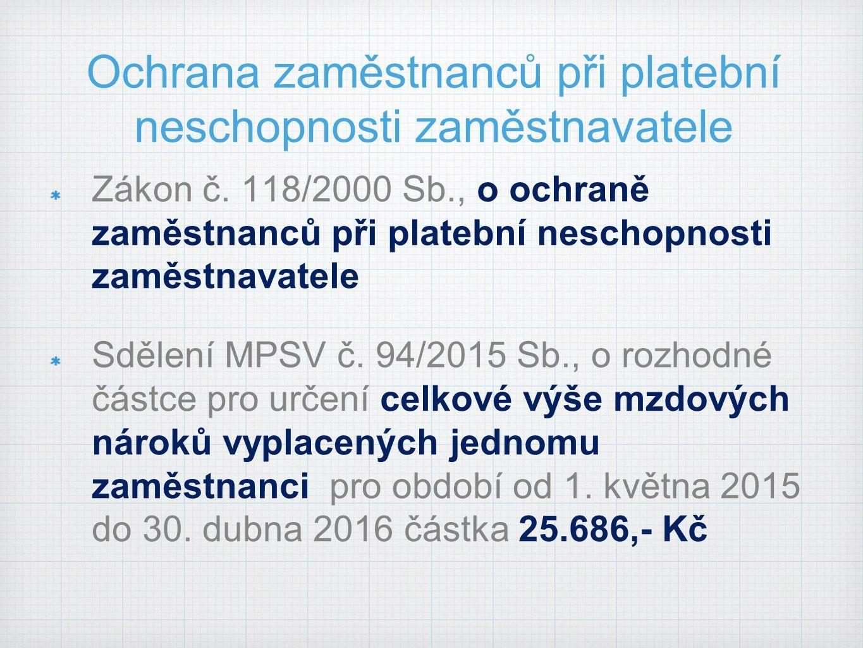 Ochrana zaměstnanců při platební neschopnosti zaměstnavatele Zákon č.
