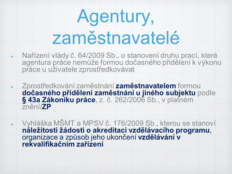Agentury, zaměstnavatelé Nařízení vlády č.
