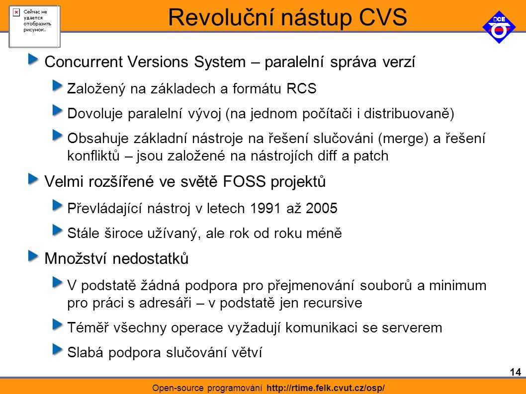 14 Open-source programování http://rtime.felk.cvut.cz/osp/ Revoluční nástup CVS Concurrent Versions System – paralelní správa verzí Založený na základech a formátu RCS Dovoluje paralelní vývoj (na jednom počítači i distribuovaně) Obsahuje základní nástroje na řešení slučováni (merge) a řešení konfliktů – jsou založené na nástrojích diff a patch Velmi rozšířené ve světě FOSS projektů Převládající nástroj v letech 1991 až 2005 Stále široce užívaný, ale rok od roku méně Množství nedostatků V podstatě žádná podpora pro přejmenování souborů a minimum pro práci s adresáři – v podstatě jen recursive Téměř všechny operace vyžadují komunikaci se serverem Slabá podpora slučování větví