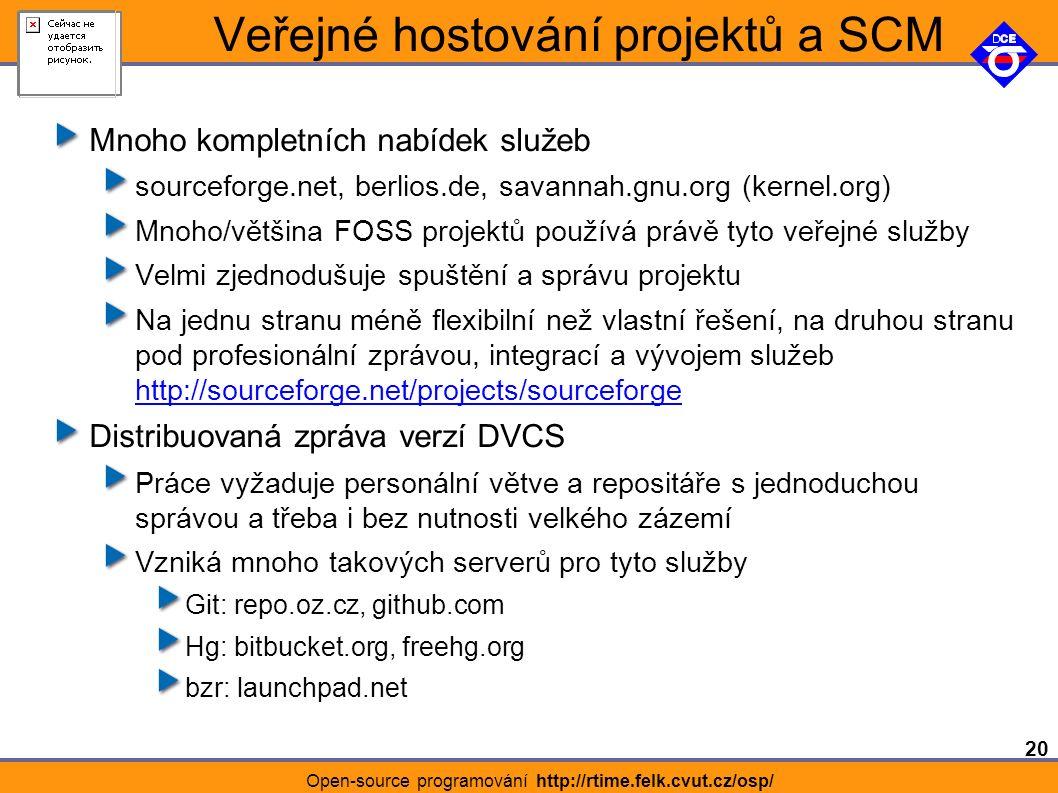 20 Open-source programování http://rtime.felk.cvut.cz/osp/ Veřejné hostování projektů a SCM Mnoho kompletních nabídek služeb sourceforge.net, berlios.de, savannah.gnu.org (kernel.org) Mnoho/většina FOSS projektů používá právě tyto veřejné služby Velmi zjednodušuje spuštění a správu projektu Na jednu stranu méně flexibilní než vlastní řešení, na druhou stranu pod profesionální zprávou, integrací a vývojem služeb http://sourceforge.net/projects/sourceforge http://sourceforge.net/projects/sourceforge Distribuovaná zpráva verzí DVCS Práce vyžaduje personální větve a repositáře s jednoduchou správou a třeba i bez nutnosti velkého zázemí Vzniká mnoho takových serverů pro tyto služby Git: repo.oz.cz, github.com Hg: bitbucket.org, freehg.org bzr: launchpad.net