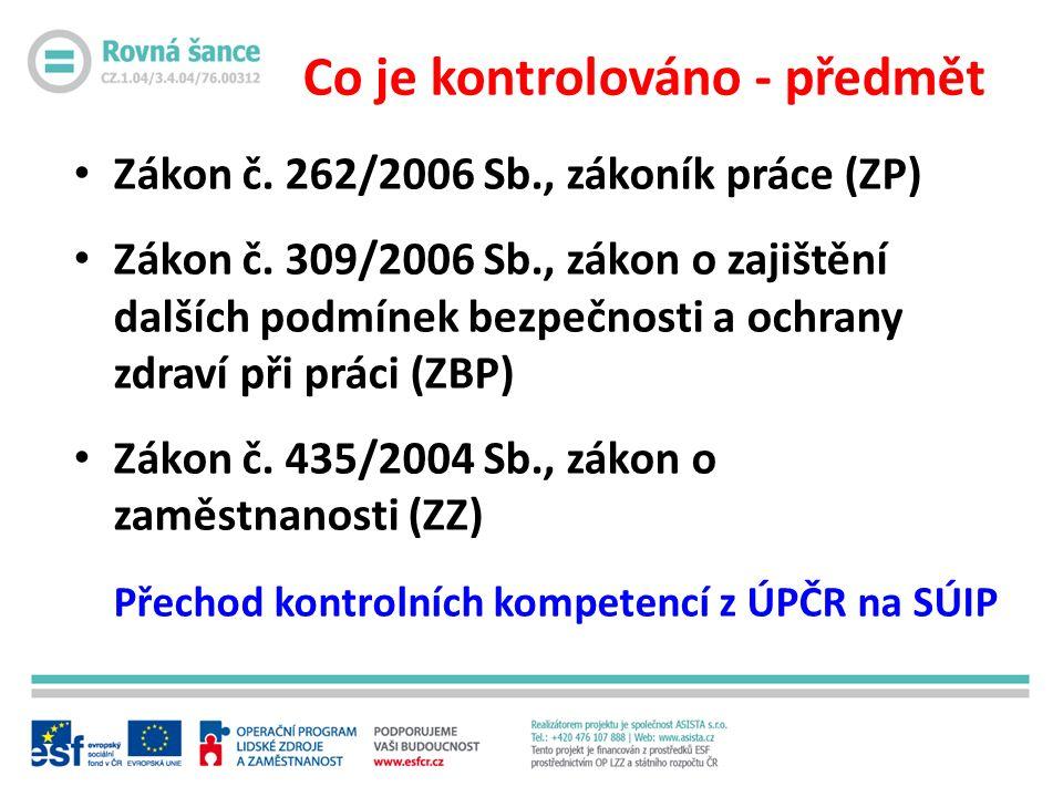 Co je kontrolováno - předmět Zákon č. 262/2006 Sb., zákoník práce (ZP) Zákon č.