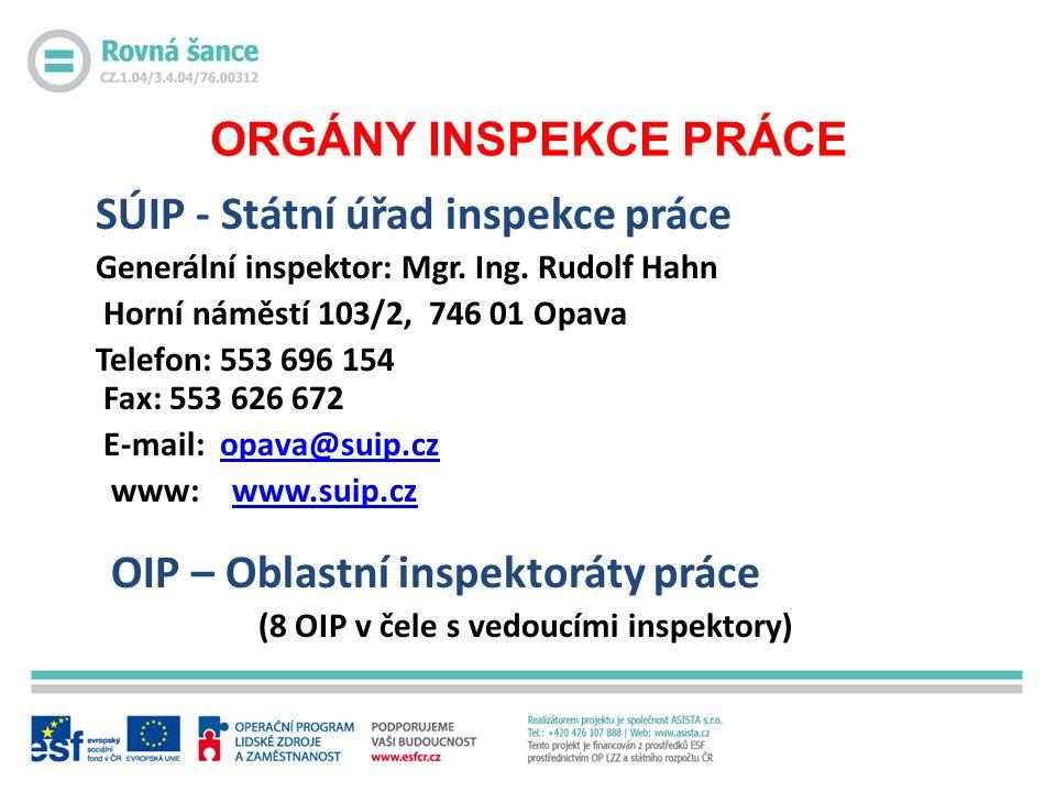ORGÁNY INSPEKCE PRÁCE SÚIP - Státní úřad inspekce práce Generální inspektor: Mgr.
