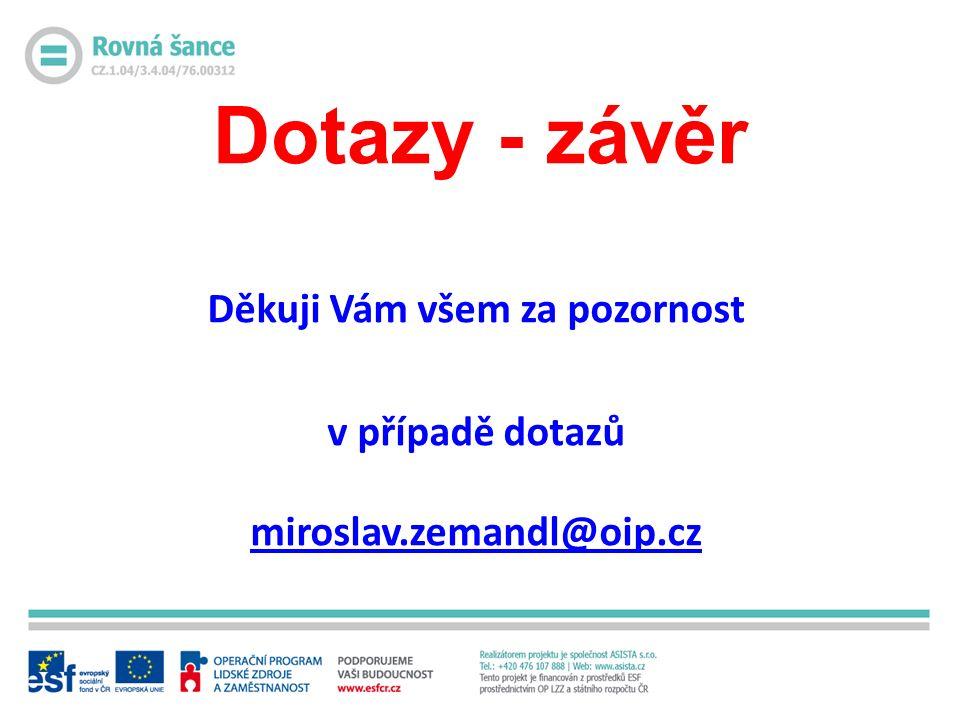 Dotazy - závěr Děkuji Vám všem za pozornost v případě dotazů miroslav.zemandl@oip.cz