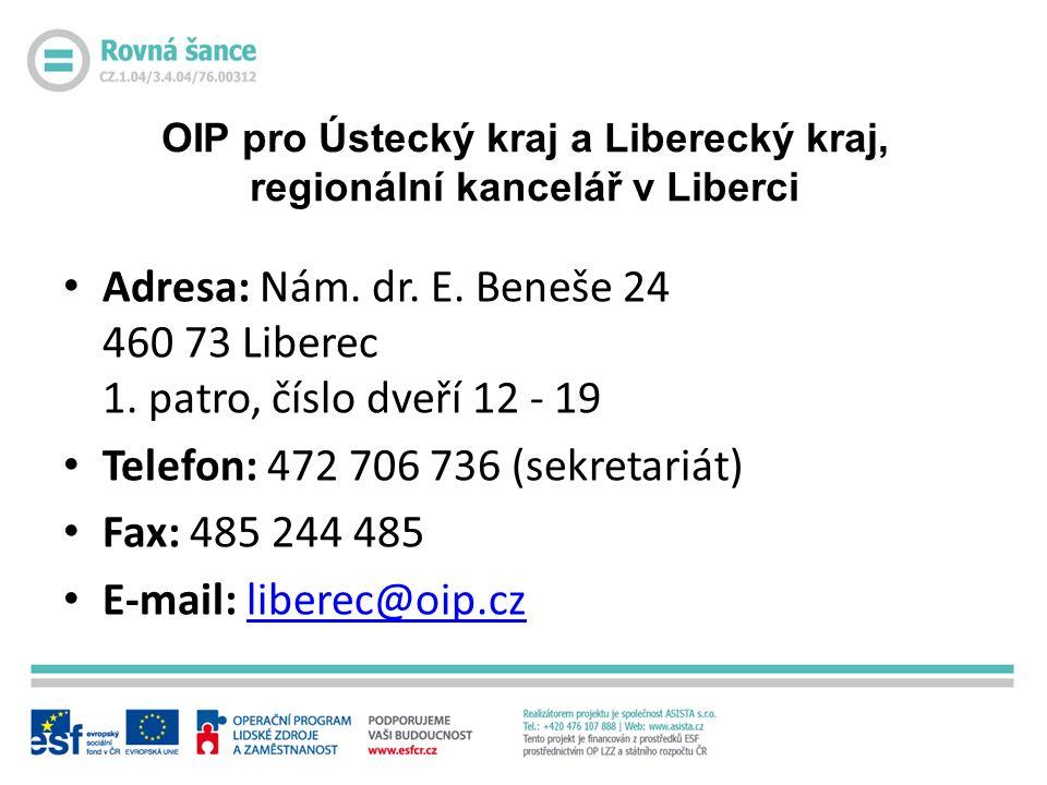 OIP pro Ústecký kraj a Liberecký kraj, regionální kancelář v Liberci Adresa: Nám.