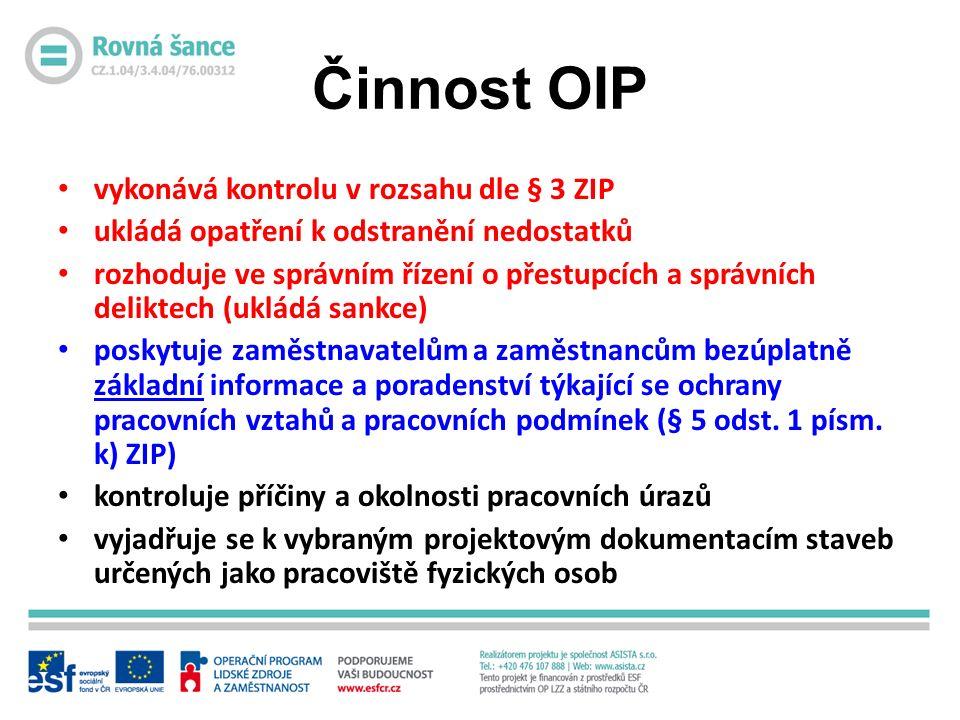 Činnost OIP vykonává kontrolu v rozsahu dle § 3 ZIP ukládá opatření k odstranění nedostatků rozhoduje ve správním řízení o přestupcích a správních deliktech (ukládá sankce) poskytuje zaměstnavatelům a zaměstnancům bezúplatně základní informace a poradenství týkající se ochrany pracovních vztahů a pracovních podmínek (§ 5 odst.