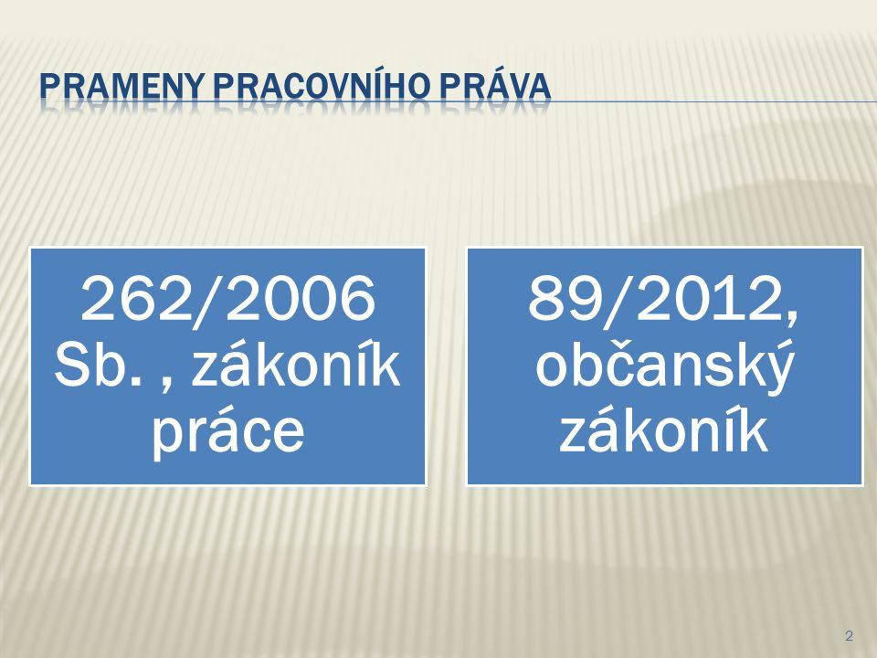262/2006 Sb., zákoník práce 89/2012, občanský zákoník 2
