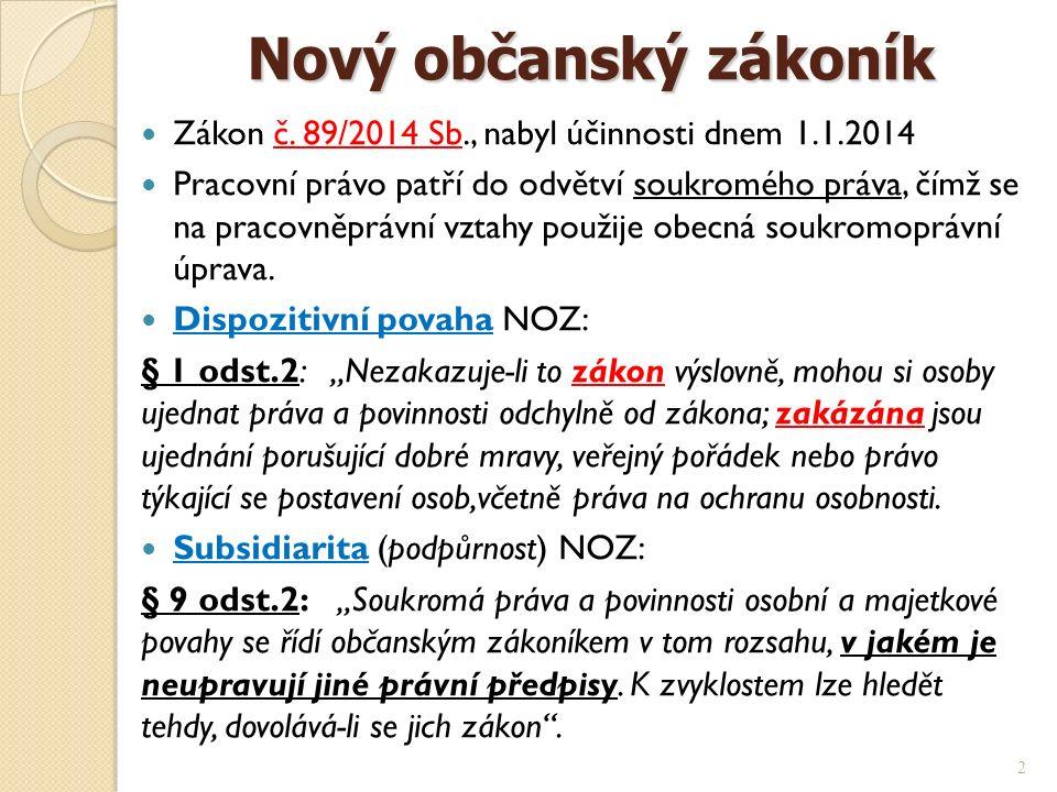 Nový občanský zákoník Nový občanský zákoník Zákon č.