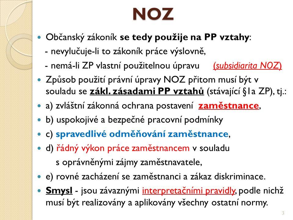 NOZ NOZ Občanský zákoník se tedy použije na PP vztahy: - nevylučuje-li to zákoník práce výslovně, - nemá-li ZP vlastní použitelnou úpravu (subsidiarita NOZ) Způsob použití právní úpravy NOZ přitom musí být v souladu se zákl.