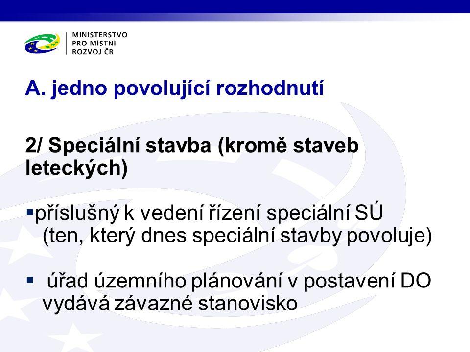 2/ Speciální stavba (kromě staveb leteckých)  příslušný k vedení řízení speciální SÚ (ten, který dnes speciální stavby povoluje)  úřad územního plán