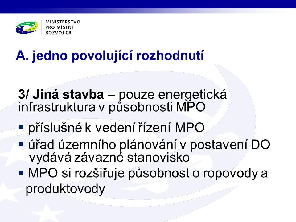 3/ Jiná stavba – pouze energetická infrastruktura v působnosti MPO  příslušné k vedení řízení MPO  úřad územního plánování v postavení DO vydává záv
