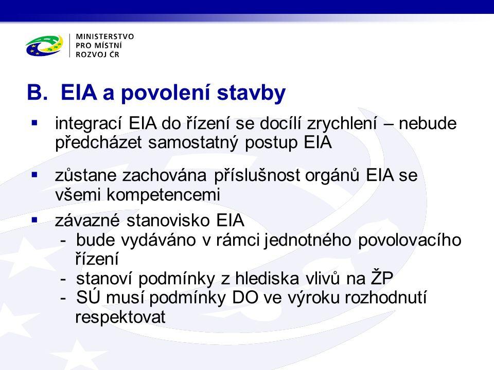  integrací EIA do řízení se docílí zrychlení – nebude předcházet samostatný postup EIA  zůstane zachována příslušnost orgánů EIA se všemi kompetence