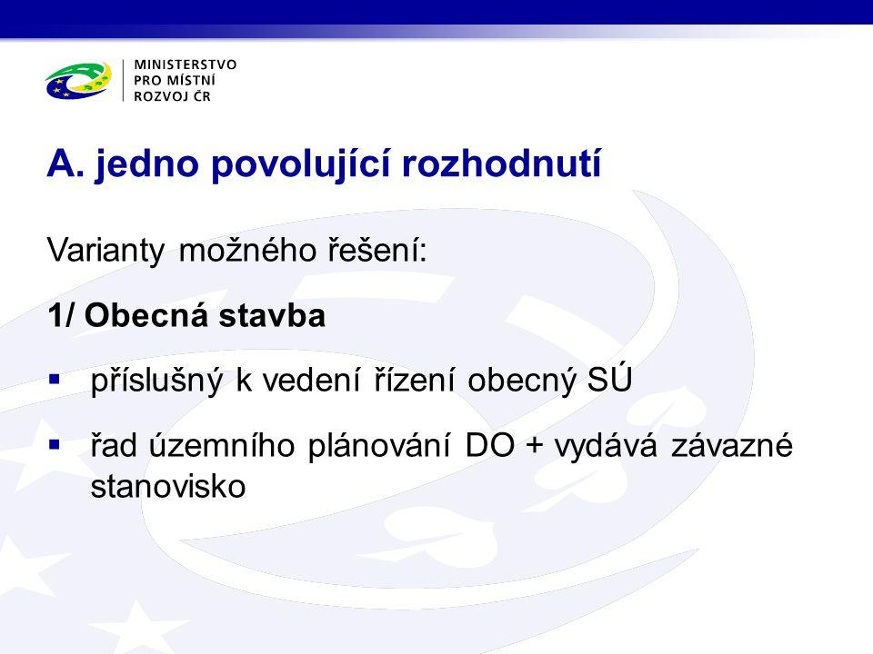 Varianty možného řešení: 1/ Obecná stavba  příslušný k vedení řízení obecný SÚ  řad územního plánování DO + vydává závazné stanovisko A. jedno povol