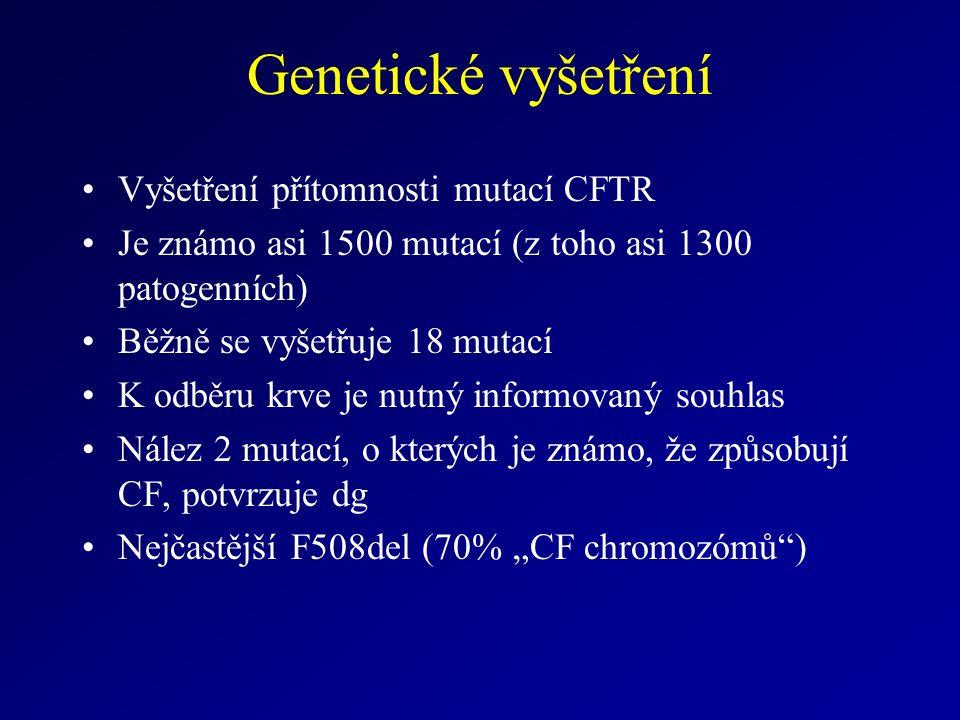"""Genetické vyšetření Vyšetření přítomnosti mutací CFTR Je známo asi 1500 mutací (z toho asi 1300 patogenních) Běžně se vyšetřuje 18 mutací K odběru krve je nutný informovaný souhlas Nález 2 mutací, o kterých je známo, že způsobují CF, potvrzuje dg Nejčastější F508del (70% """"CF chromozómů )"""