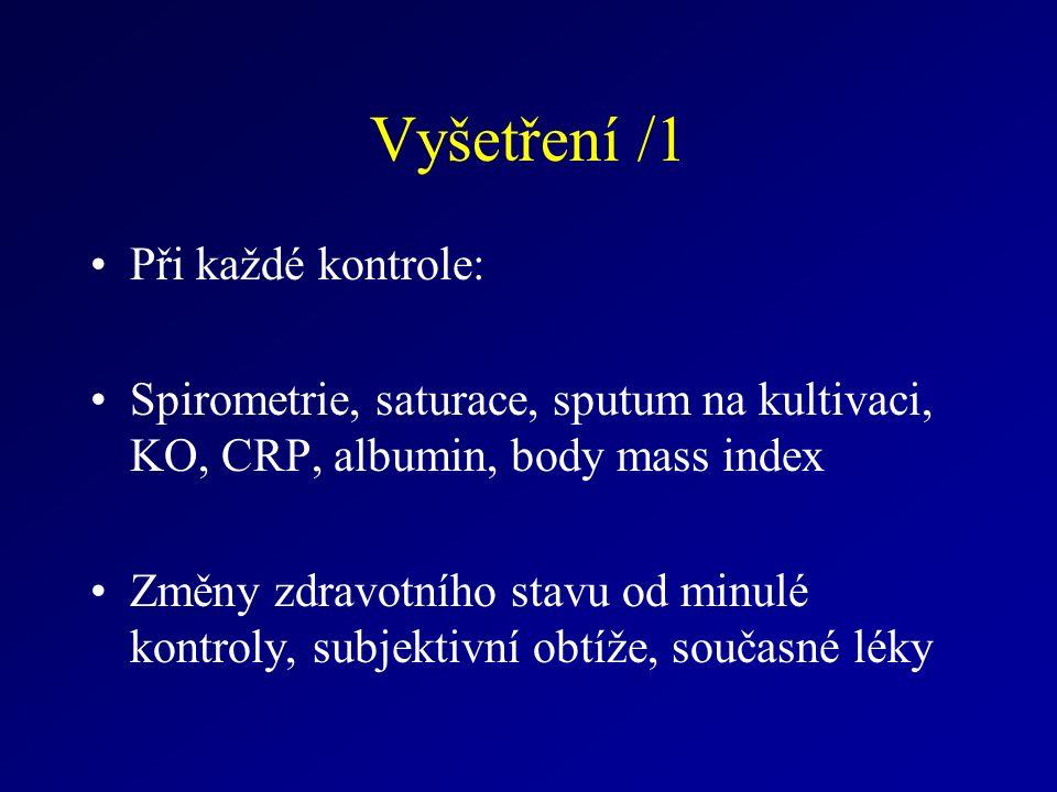 Vyšetření /1 Při každé kontrole: Spirometrie, saturace, sputum na kultivaci, KO, CRP, albumin, body mass index Změny zdravotního stavu od minulé kontroly, subjektivní obtíže, současné léky