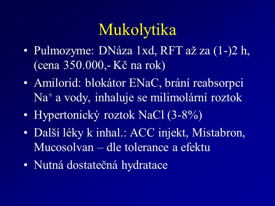 Mukolytika Pulmozyme: DNáza 1xd, RFT až za (1-)2 h, (cena 350.000,- Kč na rok) Amilorid: blokátor ENaC, brání reabsorpci Na + a vody, inhaluje se milimolární roztok Hypertonický roztok NaCl (3-8%) Další léky k inhal.: ACC injekt, Mistabron, Mucosolvan – dle tolerance a efektu Nutná dostatečná hydratace