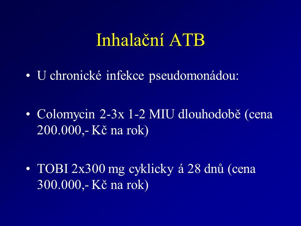 Inhalační ATB U chronické infekce pseudomonádou: Colomycin 2-3x 1-2 MIU dlouhodobě (cena 200.000,- Kč na rok) TOBI 2x300 mg cyklicky á 28 dnů (cena 300.000,- Kč na rok)
