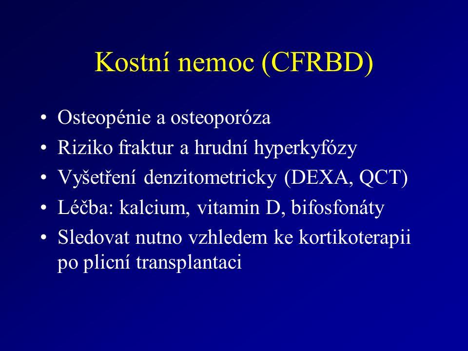 Kostní nemoc (CFRBD) Osteopénie a osteoporóza Riziko fraktur a hrudní hyperkyfózy Vyšetření denzitometricky (DEXA, QCT) Léčba: kalcium, vitamin D, bifosfonáty Sledovat nutno vzhledem ke kortikoterapii po plicní transplantaci