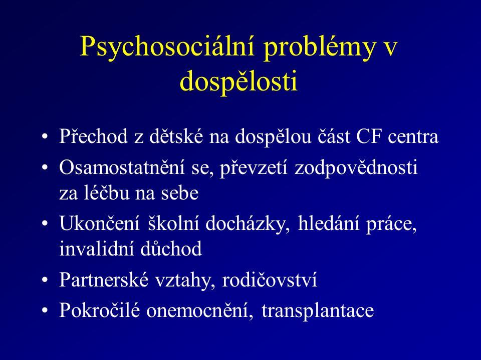 Psychosociální problémy v dospělosti Přechod z dětské na dospělou část CF centra Osamostatnění se, převzetí zodpovědnosti za léčbu na sebe Ukončení školní docházky, hledání práce, invalidní důchod Partnerské vztahy, rodičovství Pokročilé onemocnění, transplantace