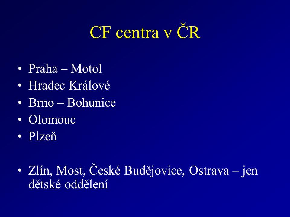 CF centra v ČR Praha – Motol Hradec Králové Brno – Bohunice Olomouc Plzeň Zlín, Most, České Budějovice, Ostrava – jen dětské oddělení