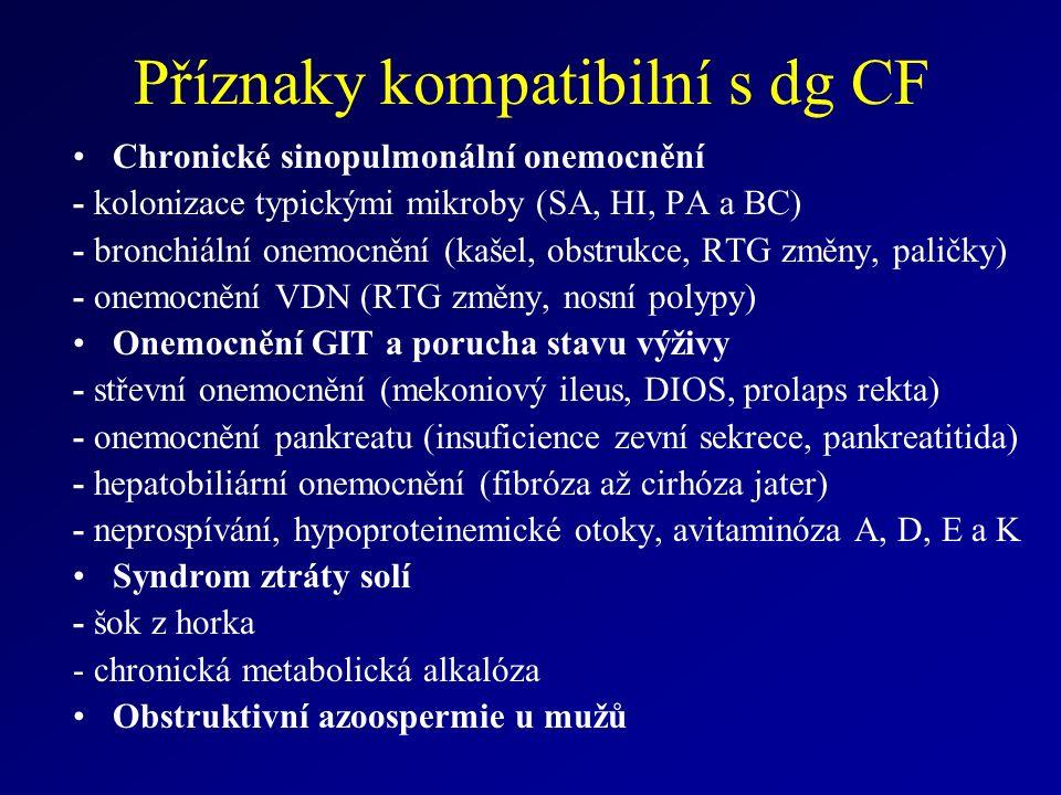 Příznaky kompatibilní s dg CF Chronické sinopulmonální onemocnění - kolonizace typickými mikroby (SA, HI, PA a BC) - bronchiální onemocnění (kašel, obstrukce, RTG změny, paličky) - onemocnění VDN (RTG změny, nosní polypy) Onemocnění GIT a porucha stavu výživy - střevní onemocnění (mekoniový ileus, DIOS, prolaps rekta) - onemocnění pankreatu (insuficience zevní sekrece, pankreatitida) - hepatobiliární onemocnění (fibróza až cirhóza jater) - neprospívání, hypoproteinemické otoky, avitaminóza A, D, E a K Syndrom ztráty solí - šok z horka - chronická metabolická alkalóza Obstruktivní azoospermie u mužů