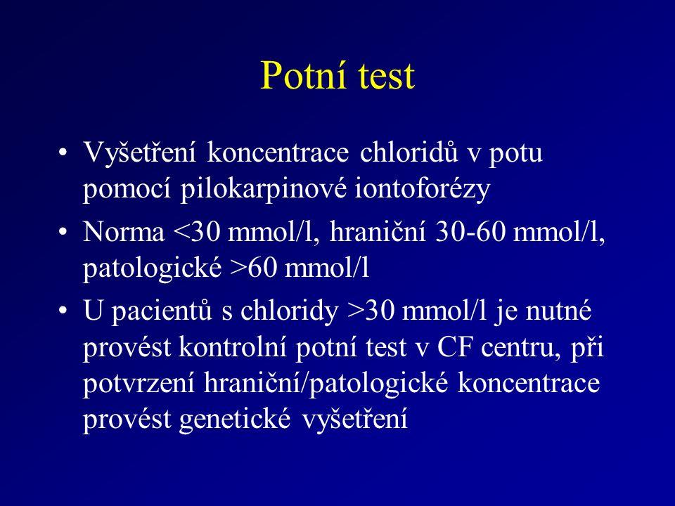 Potní test Vyšetření koncentrace chloridů v potu pomocí pilokarpinové iontoforézy Norma 60 mmol/l U pacientů s chloridy >30 mmol/l je nutné provést kontrolní potní test v CF centru, při potvrzení hraniční/patologické koncentrace provést genetické vyšetření