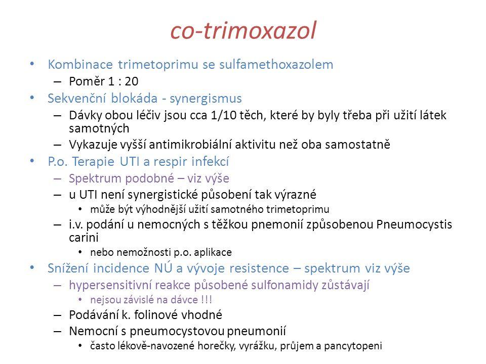 co-trimoxazol Kombinace trimetoprimu se sulfamethoxazolem – Poměr 1 : 20 Sekvenční blokáda - synergismus – Dávky obou léčiv jsou cca 1/10 těch, které