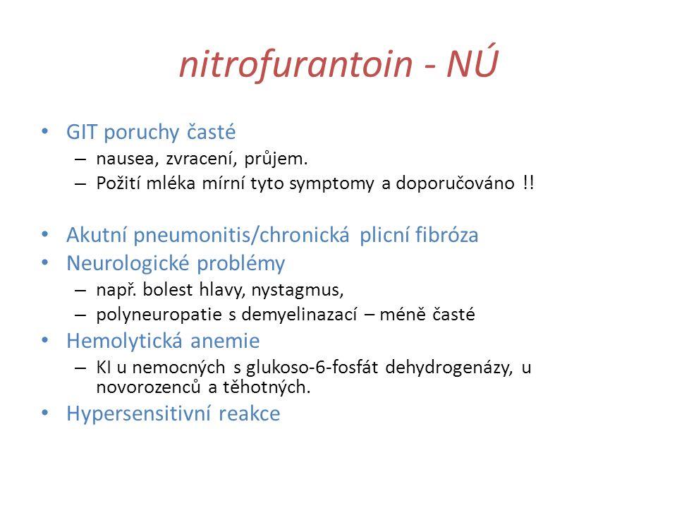nitrofurantoin - NÚ GIT poruchy časté – nausea, zvracení, průjem. – Požití mléka mírní tyto symptomy a doporučováno !! Akutní pneumonitis/chronická pl