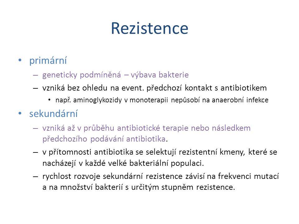 Rezistence primární – geneticky podmíněná – výbava bakterie – vzniká bez ohledu na event. předchozí kontakt s antibiotikem např. aminoglykozidy v mono