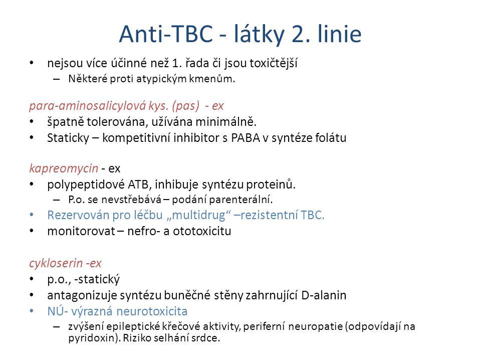 Anti-TBC - látky 2. linie nejsou více účinné než 1. řada či jsou toxičtější – Některé proti atypickým kmenům. para-aminosalicylová kys. (pas) - ex špa