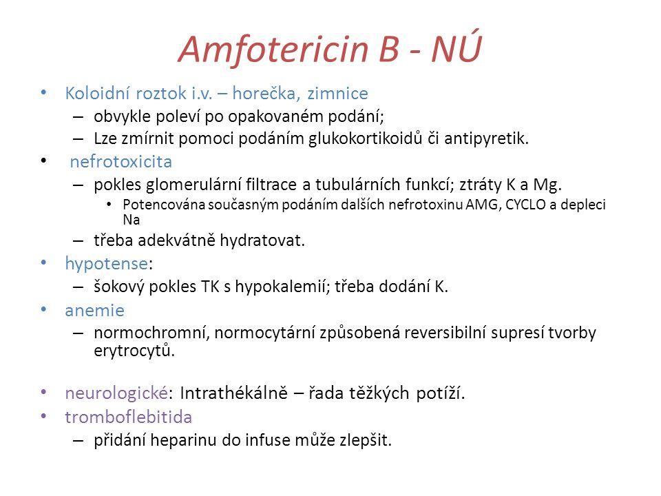 Amfotericin B - NÚ Koloidní roztok i.v. – horečka, zimnice – obvykle poleví po opakovaném podání; – Lze zmírnit pomoci podáním glukokortikoidů či anti