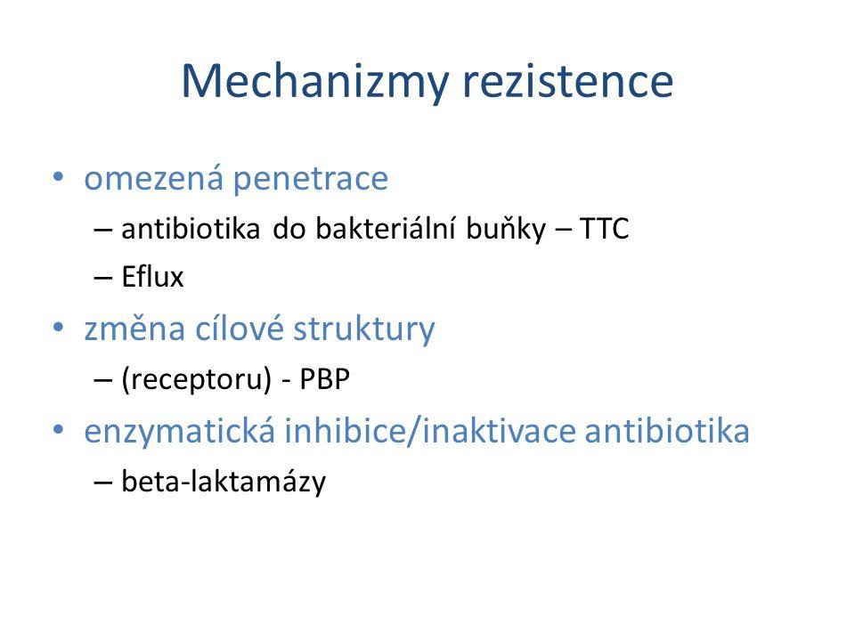 Mechanizmy rezistence omezená penetrace – antibiotika do bakteriální buňky – TTC – Eflux změna cílové struktury – (receptoru) - PBP enzymatická inhibi
