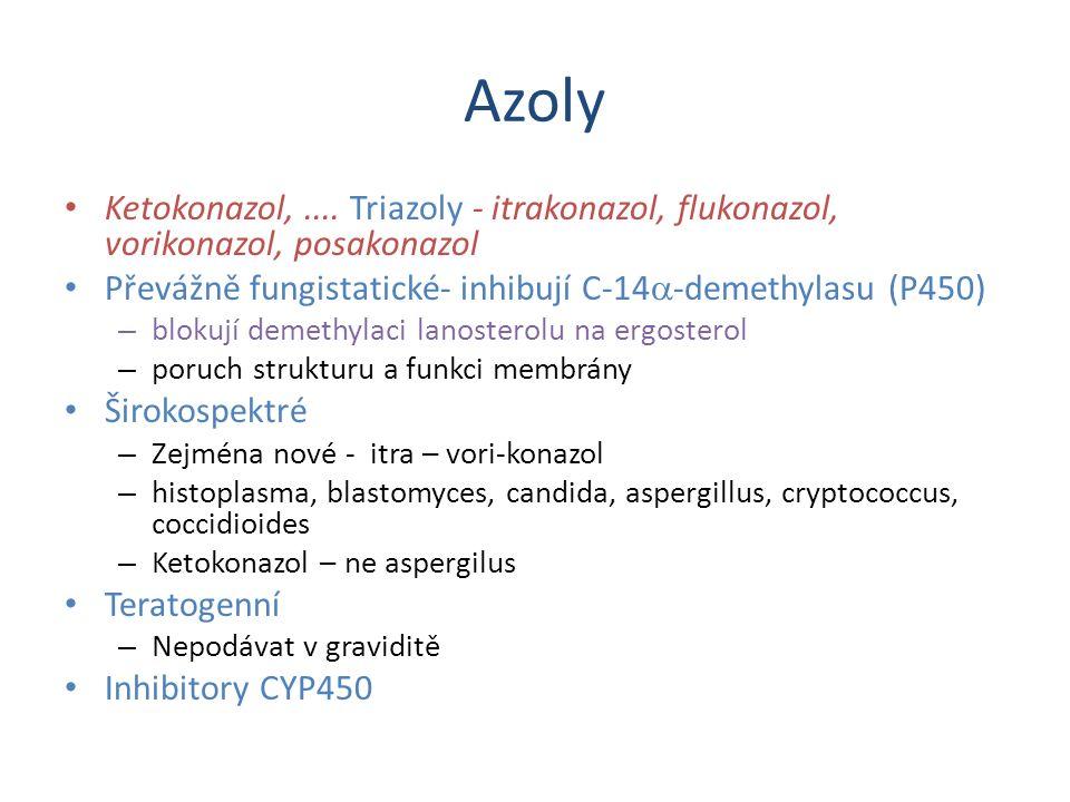 Azoly Ketokonazol,.... Triazoly - itrakonazol, flukonazol, vorikonazol, posakonazol Převážně fungistatické- inhibují C-14  -demethylasu (P450) – blok