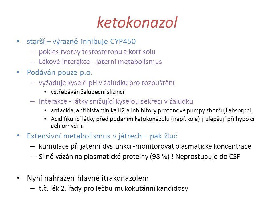 ketokonazol starší – výrazně inhibuje CYP450 – pokles tvorby testosteronu a kortisolu – Lékové interakce - jaterní metabolismus Podáván pouze p.o. – v
