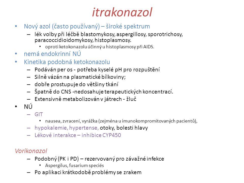 itrakonazol Nový azol (často používaný) – široké spektrum – lék volby při léčbě blastomykosy, aspergillosy, sporotrichosy, paracoccidioidomykosy, hist