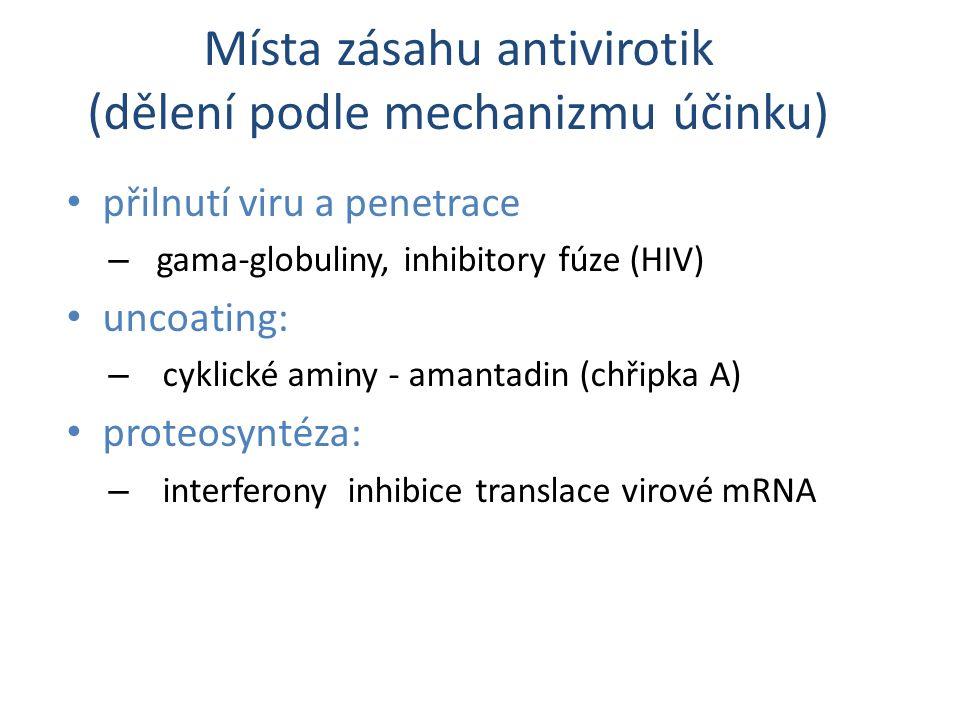 přilnutí viru a penetrace – gama-globuliny, inhibitory fúze (HIV) uncoating: – cyklické aminy - amantadin (chřipka A) proteosyntéza: – interferony inh
