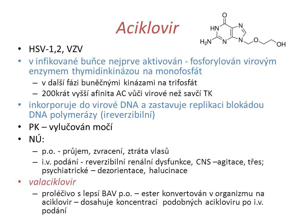Aciklovir HSV-1,2, VZV v infikované buňce nejprve aktivován - fosforylován virovým enzymem thymidinkinázou na monofosfát – v další fázi buněčnými kiná