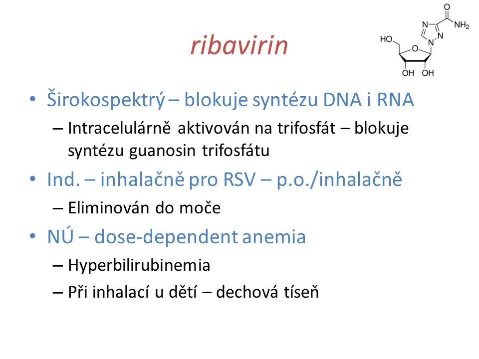 ribavirin Širokospektrý – blokuje syntézu DNA i RNA – Intracelulárně aktivován na trifosfát – blokuje syntézu guanosin trifosfátu Ind. – inhalačně pro