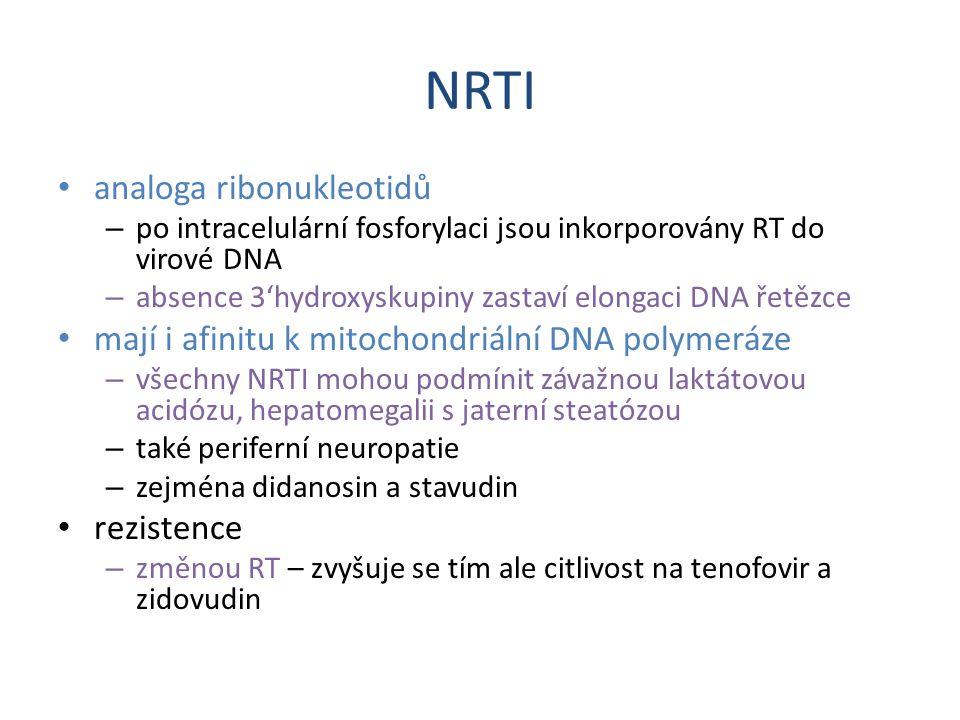 NRTI analoga ribonukleotidů – po intracelulární fosforylaci jsou inkorporovány RT do virové DNA – absence 3'hydroxyskupiny zastaví elongaci DNA řetězc